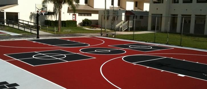 W Palm Beach FL | Tennis Court | Basketball Court Installation | Top Sport Surface Installation